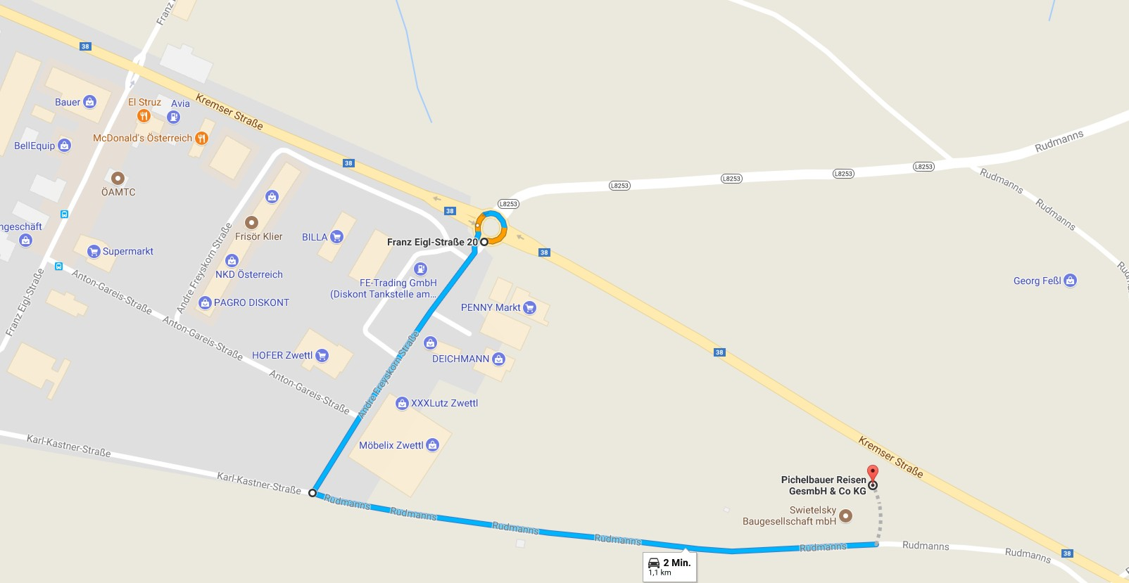 Anfahrt zum Busunternehmen Pichelbauer